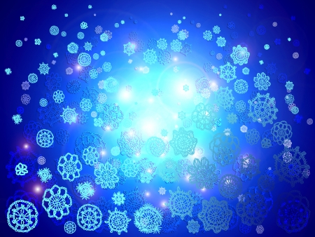 snow chain: Blue christmas lights background with snowflakes falling Stock Photo