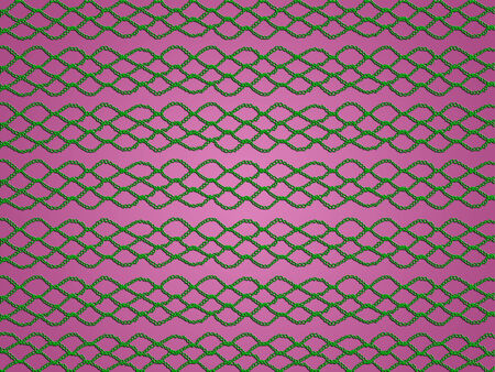 picots: Abstract christmas background of green crochet pattern on pink Stock Photo