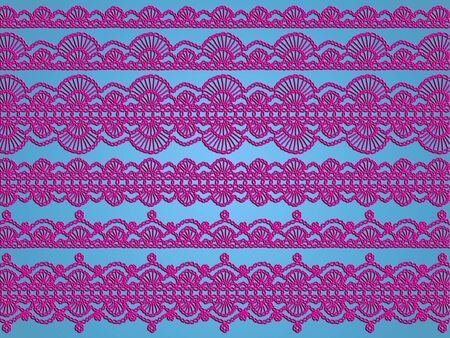 sophistication: Purple crochet garlands on light blue background