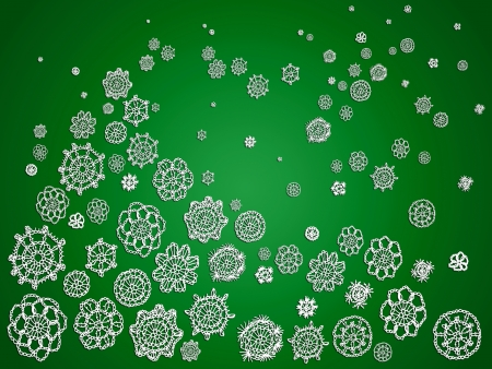 snowed: Snowflakes christmas tree abstract green background