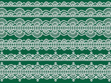 picot: Ghirlande lingerie bianca su sfondo verde di Natale