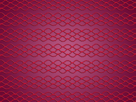 picots: Purple background with red crochet laces texture Stock Photo