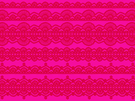 Brilliant pink background with red crochet feminine patterns photo
