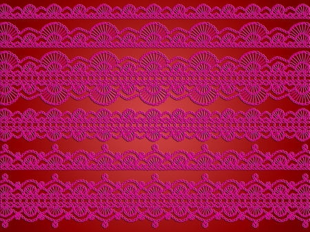 Pink female lingerie laces garlands on red background