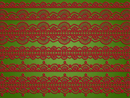 picot: Red laces garlands on green christmas background with elegance of vintage crochet
