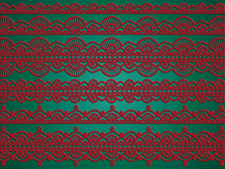 sophistication: Red and green xmas background of knitted garlands Stock Photo