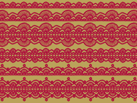 picots: Red christmas background of complex vintage crochet laces designs on beige Stock Photo
