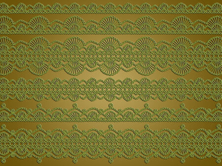 picots: Olive green christmas background of complex vintage crochet laces designs