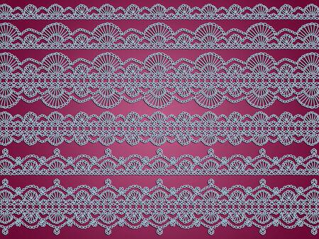 picot: Luce blu lingerie merletti all'uncinetto su sfondo viola