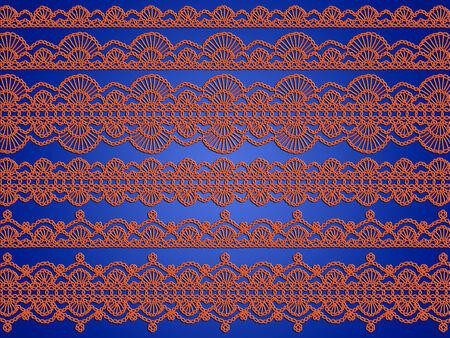picot: Struttura arancione elegante di merletti lavorati a maglia su sfondo blu