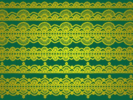 picot: Giallo design elegante complesso di crochet su sfondo verde di Natale
