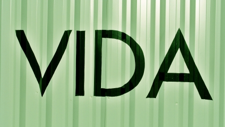 typographies: Life in spanish vida word on light green metal background Stock Photo