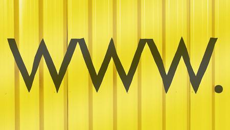 typographies: www  black zig zag shape on yellow background with stripes