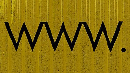typographies: www  symbols in black over ochre background