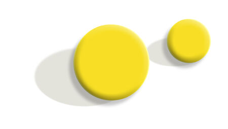 small group of objects: Yellow bouncing 3d balls with shadows isolated on white background