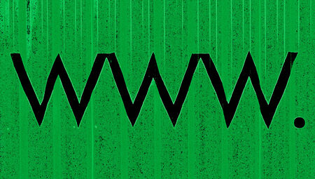 typographies: Internet domains letters www and the dot in black over green background Stock Photo