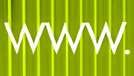 typographies: www  initials of World Wide Web light green striped background
