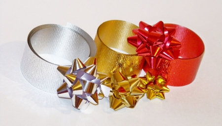 metalized: Golden red and silver christmas flowers and ribbons isolated on white