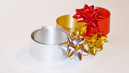 metalized: Christmas ribbons for gifts packaging isolated on white