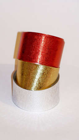 metalized: Christmas stacked ribbons of three metalized colors