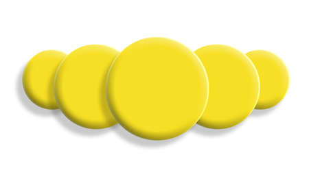 big five: Five 3d yellow balls perspective isolated on white Stock Photo