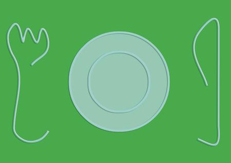 dessert plate: Cartoon piatto da dessert sul verde con forchetta e coltello ai lati
