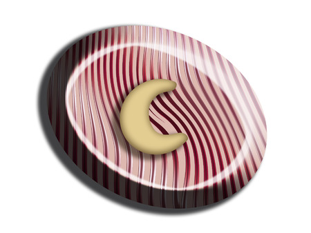 Red stripes on pink candy with a nut moon isolated on white Stock Photo - 25151915