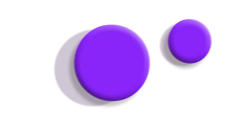 small size: Two toy balls from top view isolated on white background