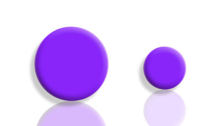 large group of object: Two sport violet balls with reflex on white