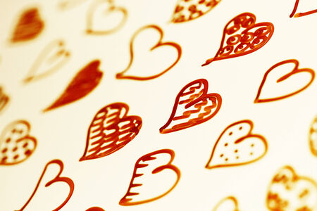 brownish: Brown hearts pattern romantic abstract background  Stock Photo
