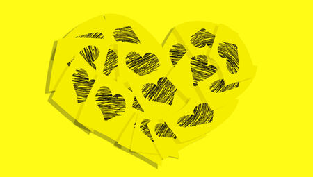 Yellow paper notes with hearts for valentines office postcard photo