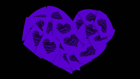 Indigo blue heart of office love notes isolated on black photo