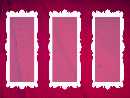 transparencies: Pink wood background with three white frames