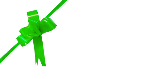 aniversary: Green present ribbon with bow isolated on white