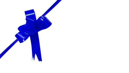aniversary: Blue gift ribbon bow on a corner isolated on white background with copyspace