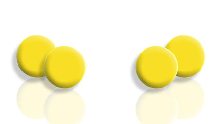 mirroring: Yellow balls reflections on white background
