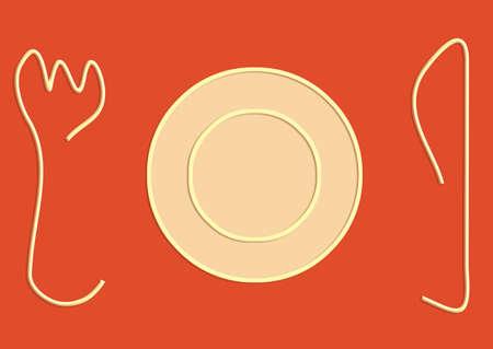 dessert plate: Empty piccolo piatto da dessert sul tavolo arancione Archivio Fotografico