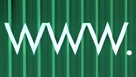 typographies: Www  domain green striped abstract background
