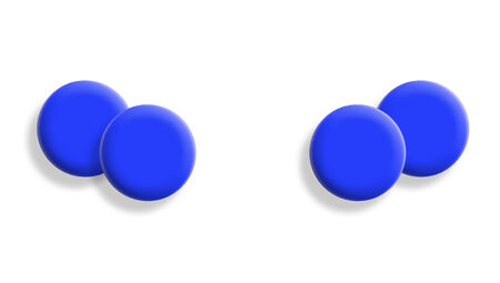 mirroring: Two blue sport balls couples on white background