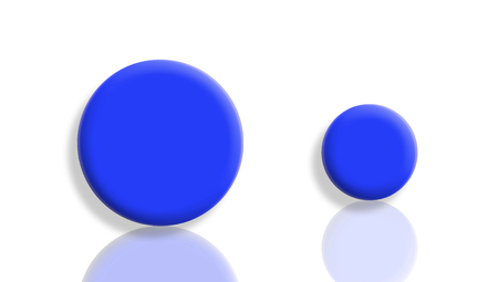small size: Blue toy balls couple of different sizes on white Stock Photo