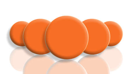 Orange sportive balls perspective with reflex on white photo