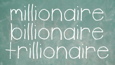 richness: Millionaire billionaire trillionaire learning about richness words of chalk on a blackboard