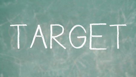 Target word of chalk on a class blackboard background photo