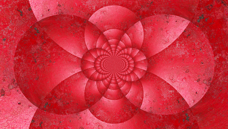 brushwork: Red circles caleidoscope abstract background Stock Photo