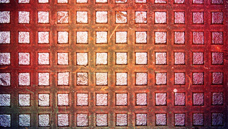 iron oxide: Brown oxide iron squares closeup background