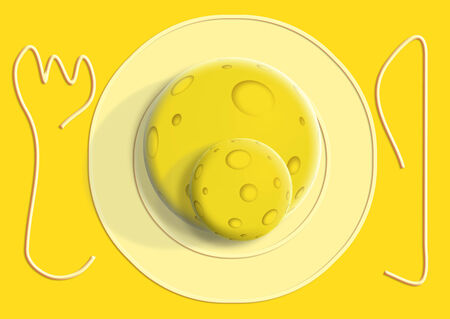 table sizes: Cheese balls illustration on a plate on yellow table Stock Photo