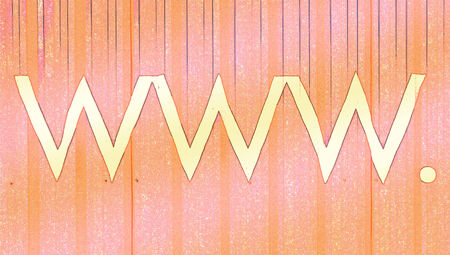 typographies: Www internet domain signs on orange backdrop