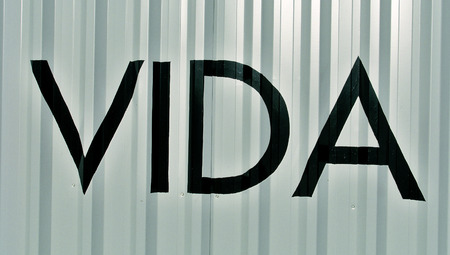typographies: Vida life word on metal background with stripes