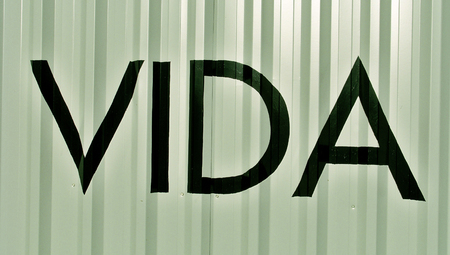 typographies: Vida word in spanish on metallic striped background