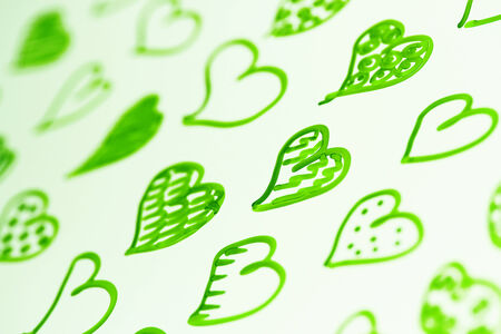 macrophotography: Green hearts pattern abstract background